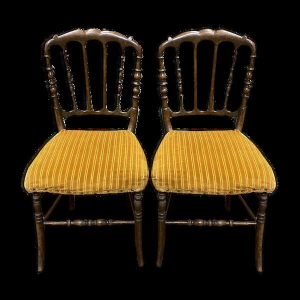 Paire de chaises Napoléon III fin XIXème en hêtre