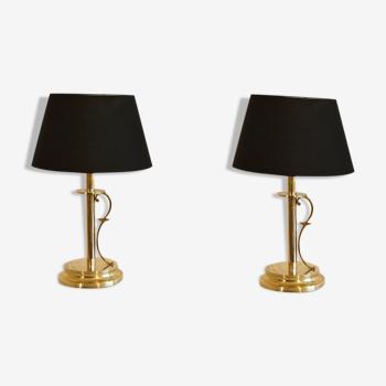 Paire de lampes scandinaves en laiton de Tranas Stilarmatur 1970