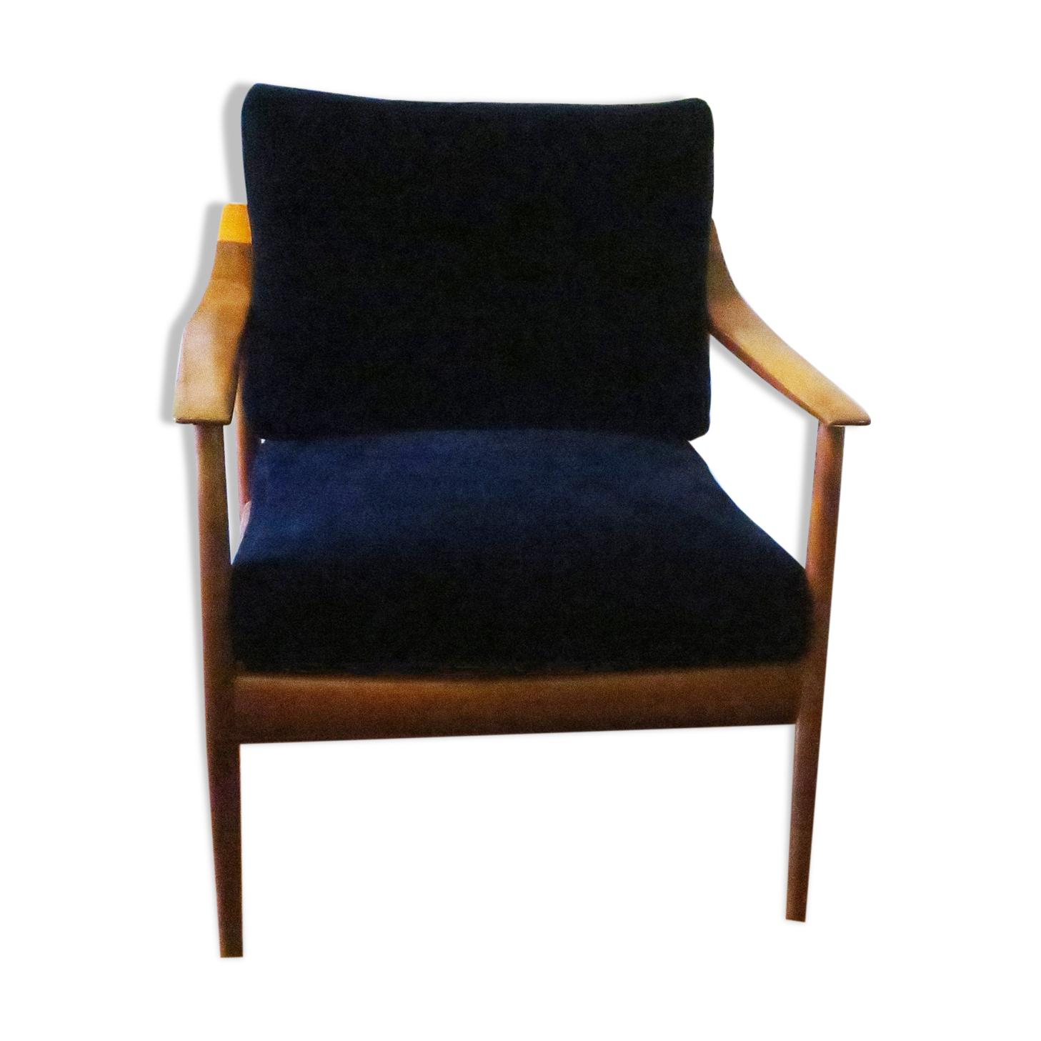 Chaise longue en velours bleu du milieu du siècle avec dossier incurvé et coussins suspendus