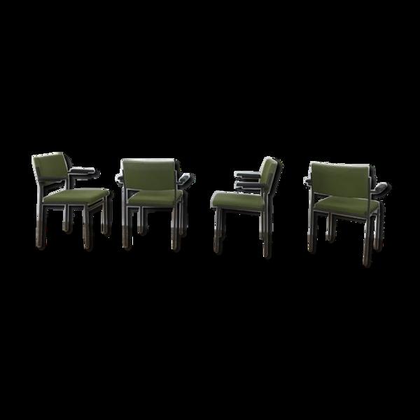 Série de 4 fauteuils moderne vintage pieds metal 1960