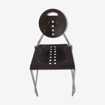 Chaise de bureau  Ségis italien années 80 noire chromé