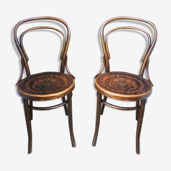 Lot de 2 chaises bistrot Josef Hoffmann début XXeme