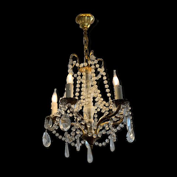 Lustre bronze à pampilles cristal