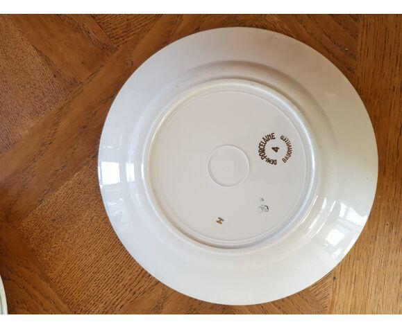 Lot de 6 assiettes plates vert or