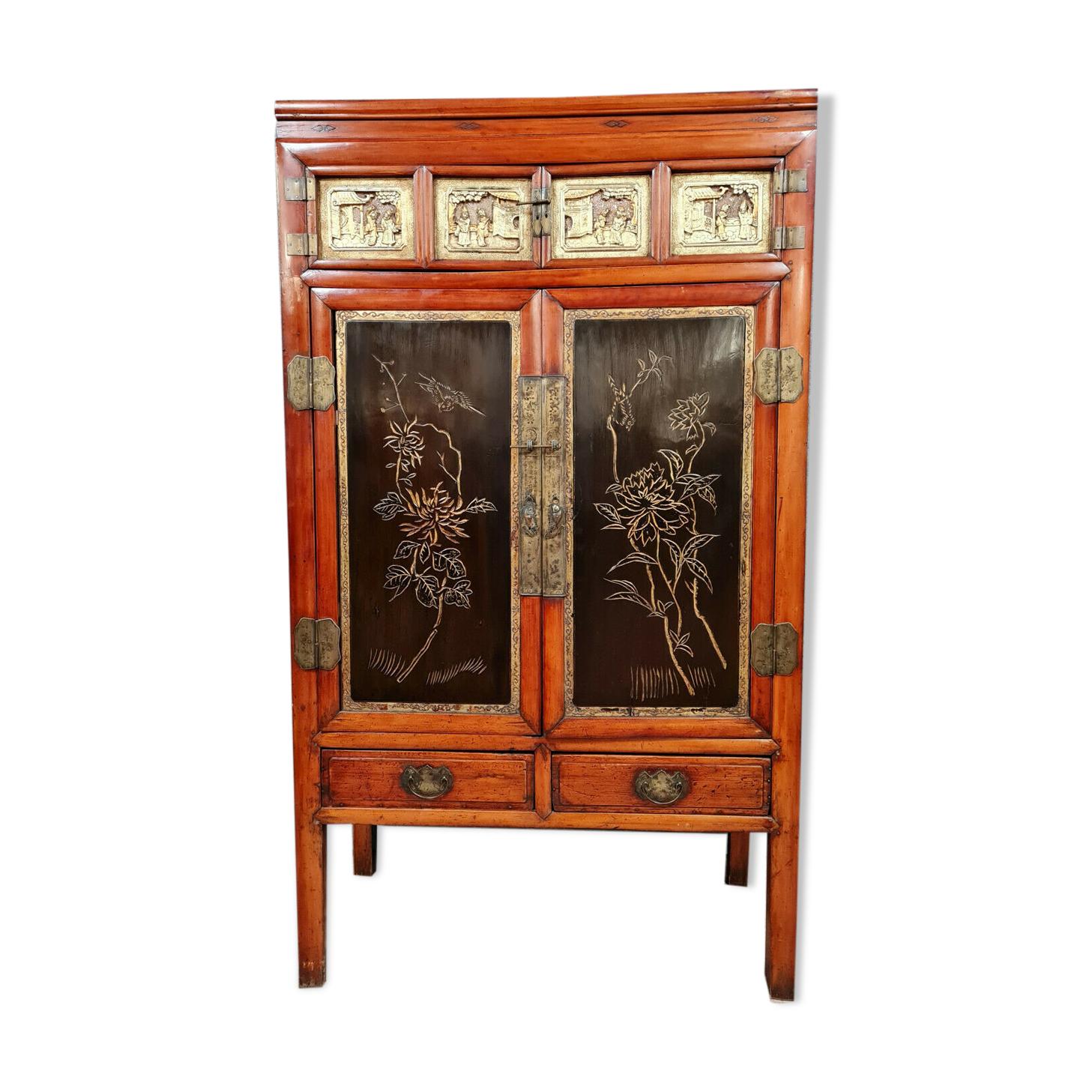 Meuble d'apparat japonisant en bois exotique bois doré et bois laqué vers 1920