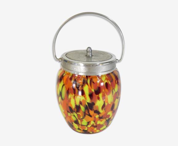 Bonbonnière en verre multicolore Clichy Art Nouveau