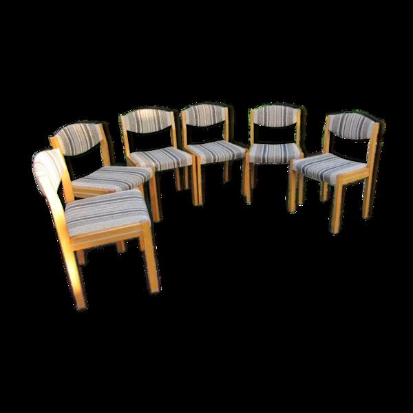 Selency Lot de 6 chaises scandinaves des années 60