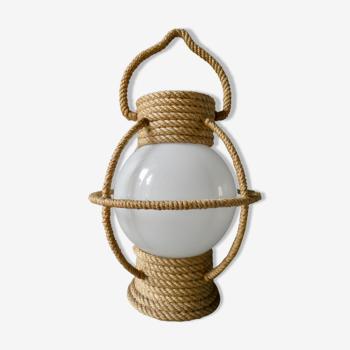 Lampe lanterne en corde et opaline, années 60
