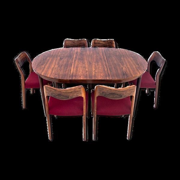 Table ronde et chaises de Niels O. Møller, Danemark, années 1960