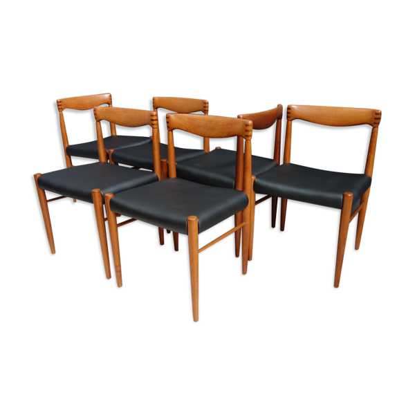 Ensemble de six chaises à manger WH Klein pour Bramin Danemark années 1960