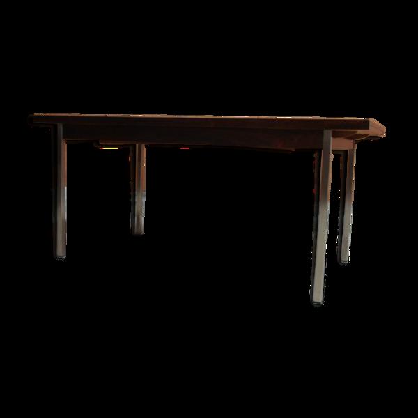 Selency Table palissandre, pieds chromés