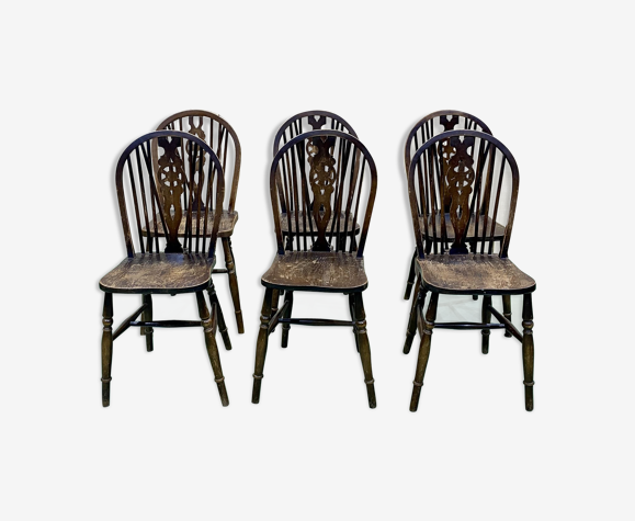Série de 6 chaises bistrot anglaises en orme années 70