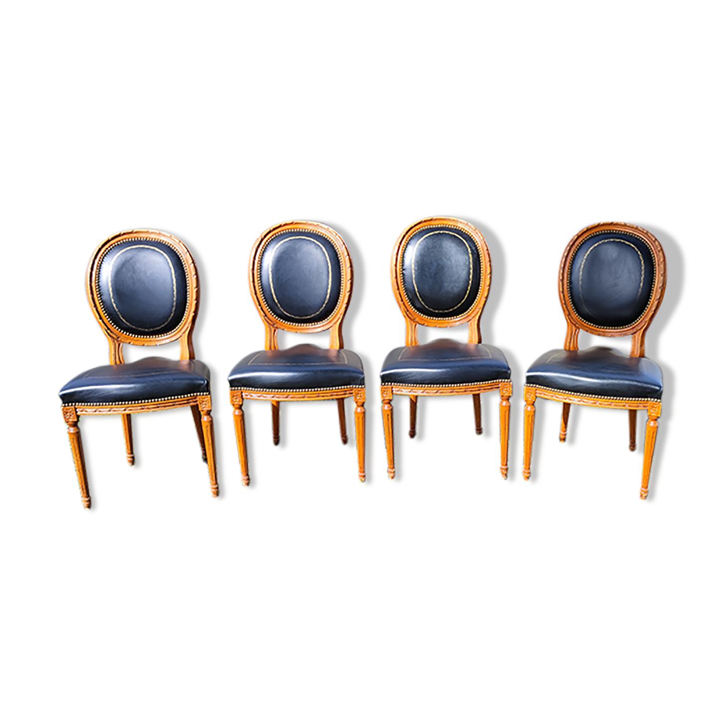 4 chaises médaillon Louis XVI