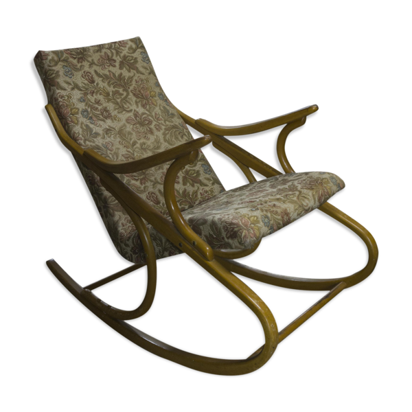 Rocking chair curved wooden tone
