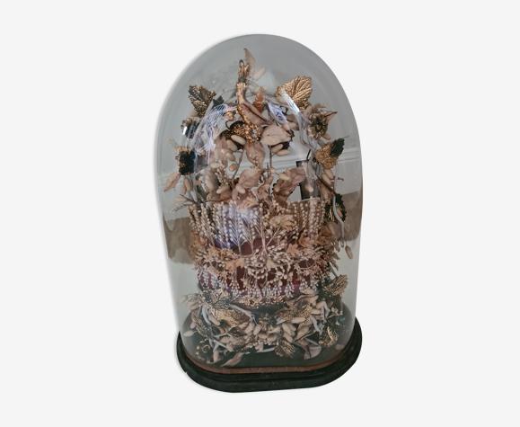 Globe de mariée Napoléon III , vintage , couronne de mariée , fleurs