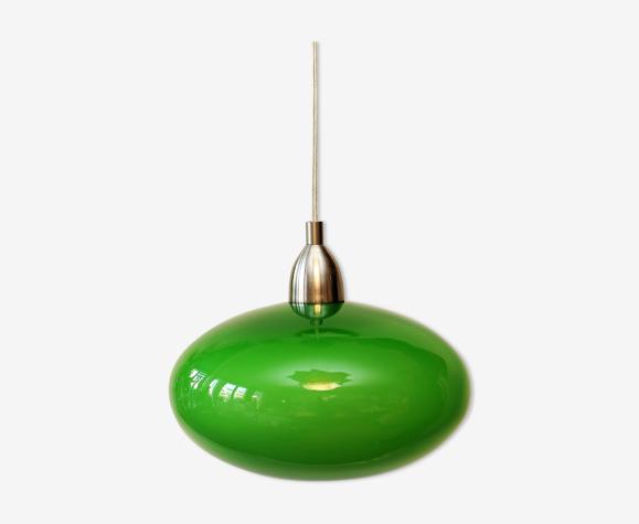 Suspension opaline verte et métal brossé vintage année 60/70. bon état.