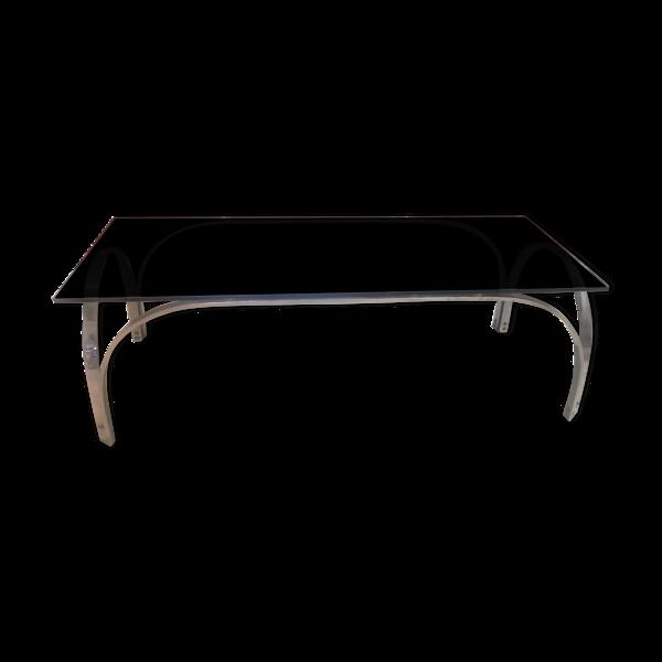 Table basse vintage en chrome et verre fumé