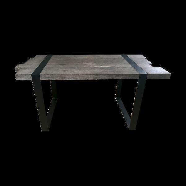 Table industrielle 160. cm chêne grisé