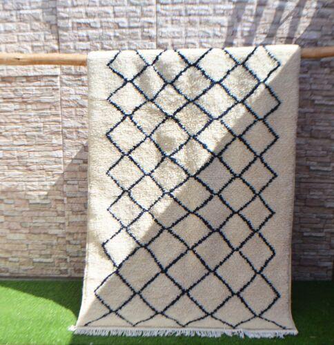 Tapis marocain en laine berbère beni ourain 205 x 137cm