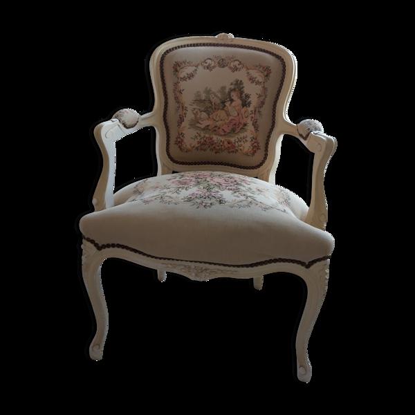Fauteuil de style Louis XV en bois cérusé