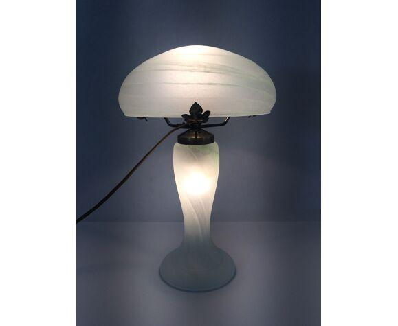 Lampe champignon en pâte de verre blanche et verte, année 80
