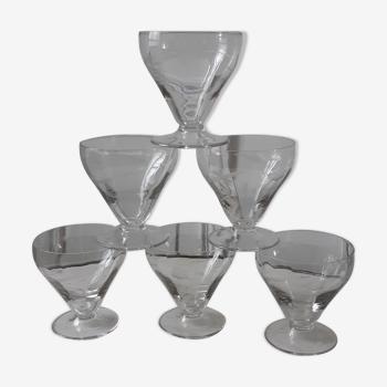 Lot de 6 verres à eau en cristal gravés années 50