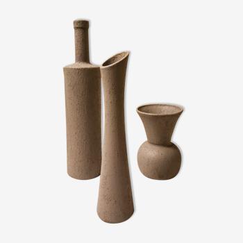 Lot vases verre aspect cimenté