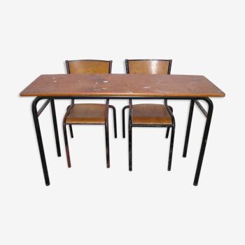 Table d'école et ses 2 chaises Mullca années 60/70