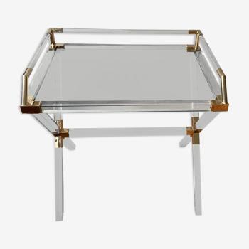Table de bar en laiton et plexi par Charles Hollis Jones, 1970