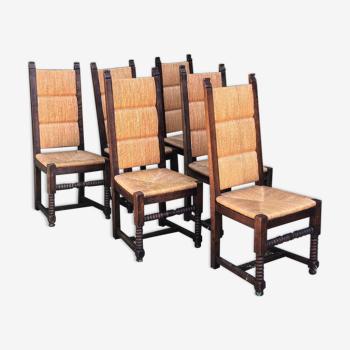 Ensemble de 6 chaises néo-basque en chêne et paille 1950