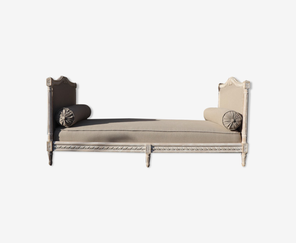 Louis xvi style daybed, reupholstered linen