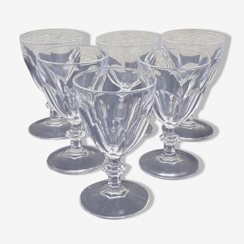 6 verres en cristal modèle Rambouillet 11,5 cl hauteur 10,5 cm