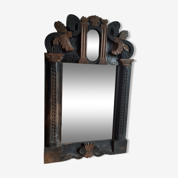 Miroir sculpté d'art populaire d'époque 1900 34x54cm