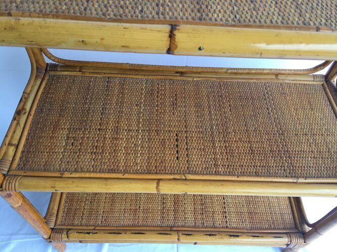 Console étagère vintage en rotin