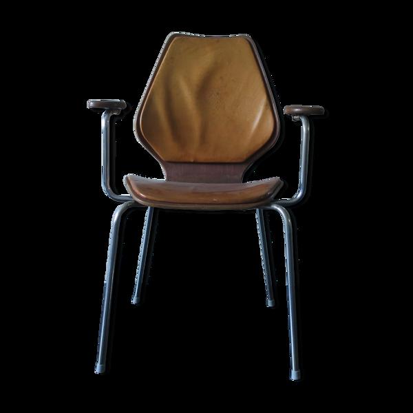 Chaise en teck vintage en cuir naturel couleur cognac