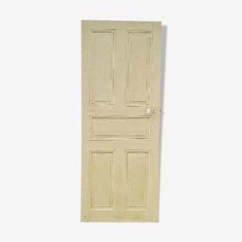 Ancienne porte intérieur bois peint vintage poignée porcelaine N°2