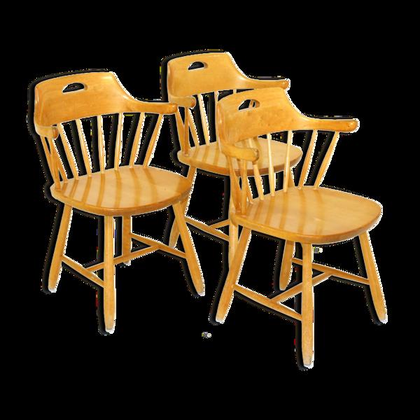 Set de 3 chaises à barreaux, Suède, 1970