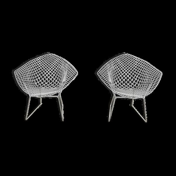 Paire de fauteuils Diamond par Harry Bertoia pour Knoll, 1980