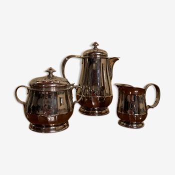 Service à thé en inox argenté