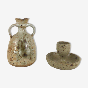 Set deco candlestick and sandstone pourer
