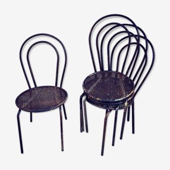 4 chaises en métal perforé