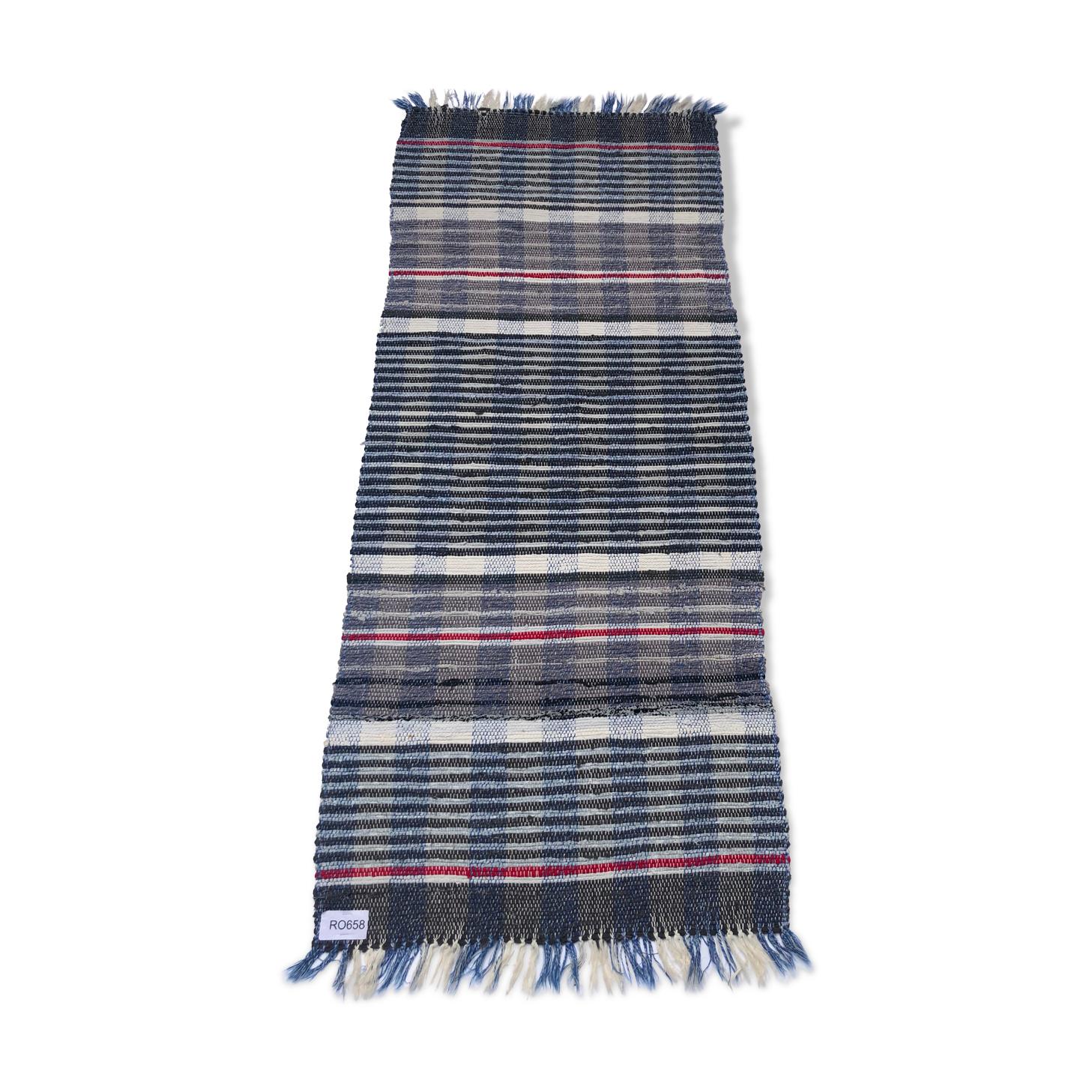 Tapis suédois tissé à la main coton artisanat multicolore bleu gris blanc rouge chiffon tapis