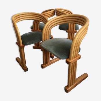 Ensemble de 4 chaises pour rohe par axel enthoven des années 1980