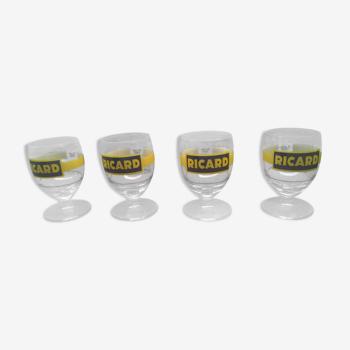 4 verres Ricard vintage