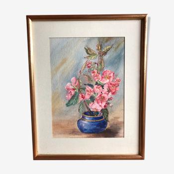 Tableau aquarelle m. buffeteau bouquet fleurs signée & cadre bois doré vintage
