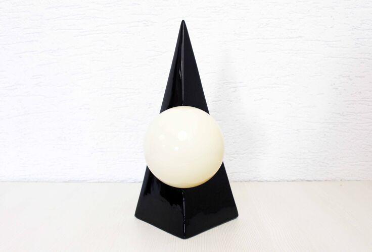 Lampe pyramide en céramique années 70
