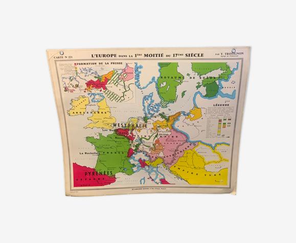 Carte d'école l'Europe au 17 ème siècle
