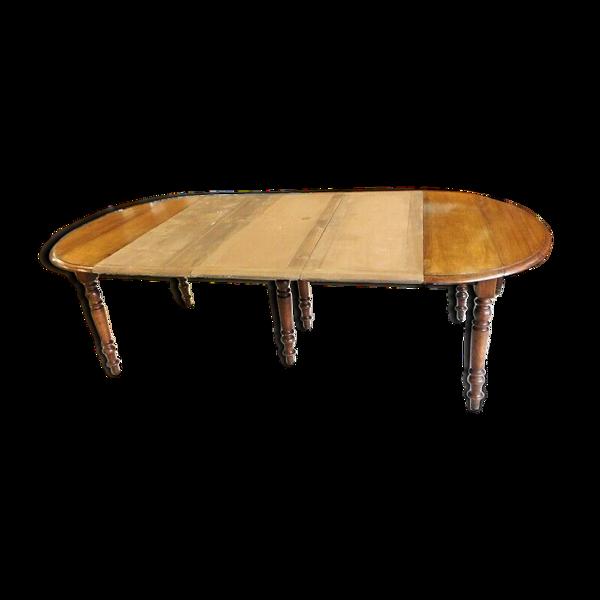 Table 6 pieds LouisPhilippe avec 3 allonges en noyer du xix ème siecle
