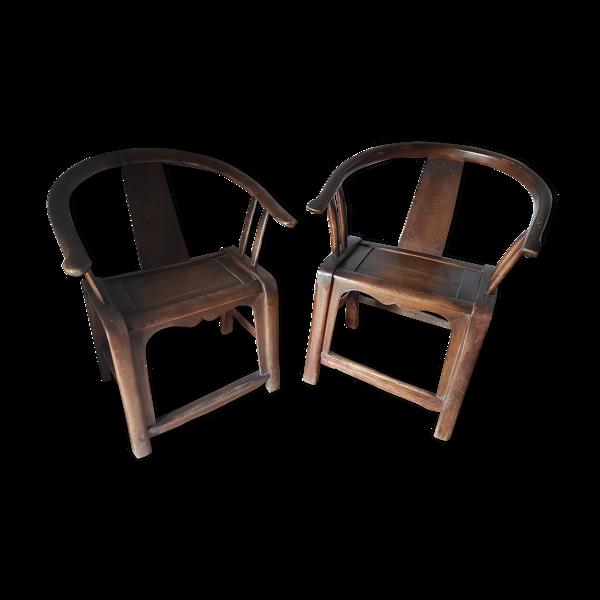 Selency Paire de fauteuils chinois fer à cheval