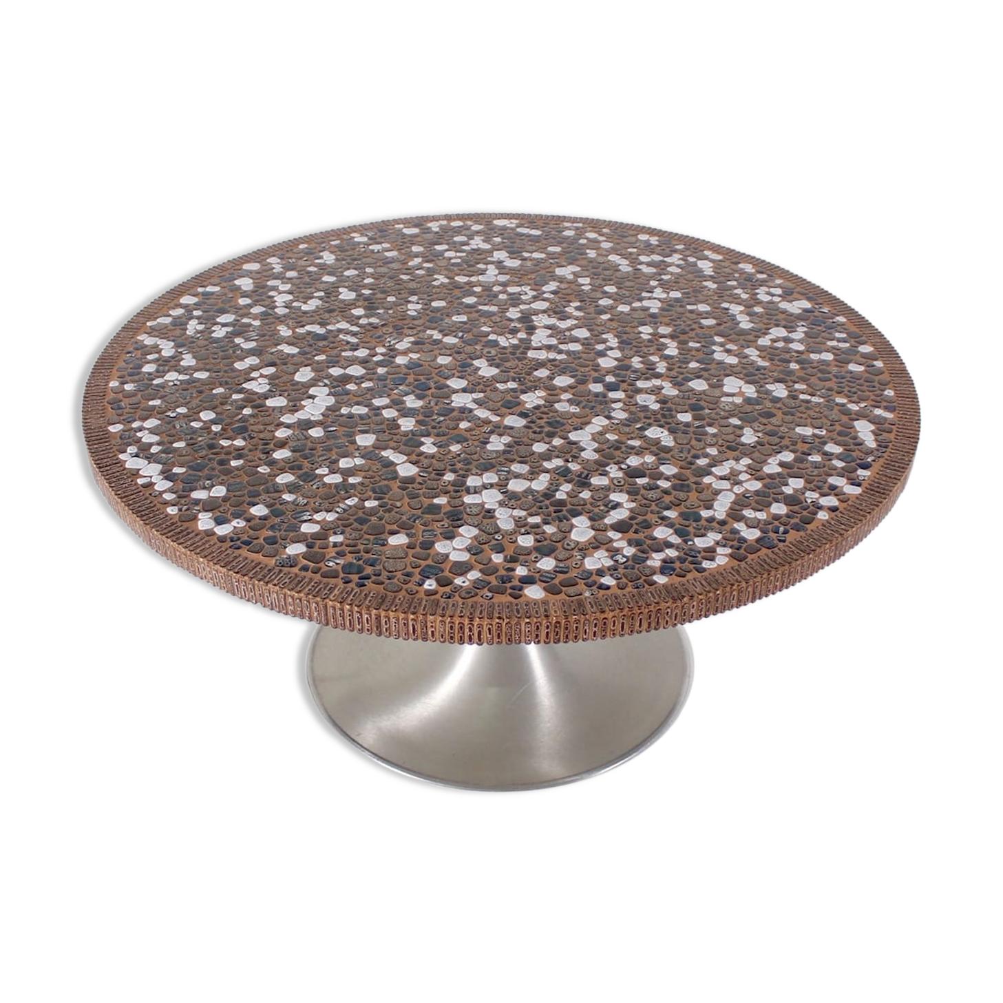 Table basse tulipe en mosaïque de céramique